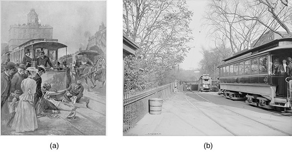 Illustration (a) depicts a trolley accident: A man is sprawled in the tracks before a stopped trolley, with several other men coming to his aid while a crowd looks on. Photograph (b) shows three trolleys emerging from an underground tunnel in Boston.