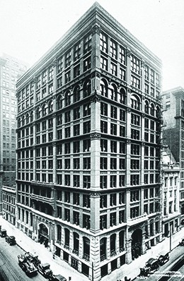 A photograph shows the Home Insurance Building in Chicago.