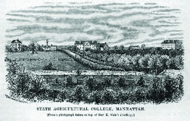 "An engraving shows the grounds of Kansas State University. A label reads ""State Agricultural College, Manhattan."""