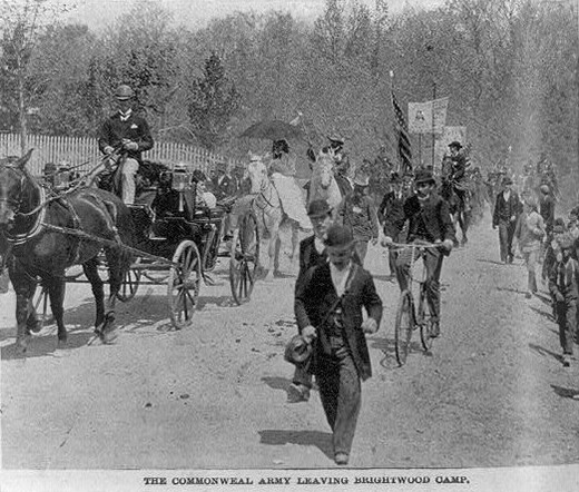 A photograph shows Coxey's Army on the march, with protestors walking, mounted on horseback, and riding on bicycles and in horse-drawn buggies.