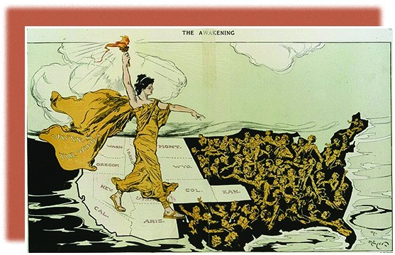 "A cartoon shows a suffragist standing on a map of the United States, wearing a flowing gown that bears the words ""Votes for Women."" She holds a torch over the western states, which are bright and bear their state names; the rest of the nation appears as a dark abyss, from which crowds of desperate women reach up. The main figure walks toward these women, extending her other hand to them."