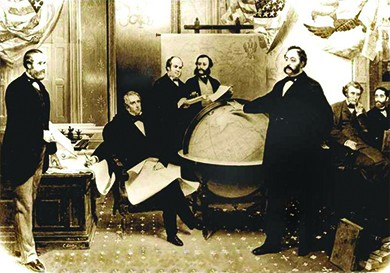 An illustration depicts the signing of the Alaska Treaty of Cession.