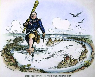 "A cartoon, captioned ""The Big Stick in the Caribbean Sea,"" shows a massive Roosevelt marching through the Caribbean Sea holding a stick labeled ""Big Stick."" Various nations are labeled, including Santo Domingo, Cuba, Mexico, and Panama. Roosevelt pulls a boat labeled ""The Receiver"" behind him on a string. Sailing around the perimeter of the Caribbean is a group of ships labeled ""Debt Collector"" and ""Sheriff."""