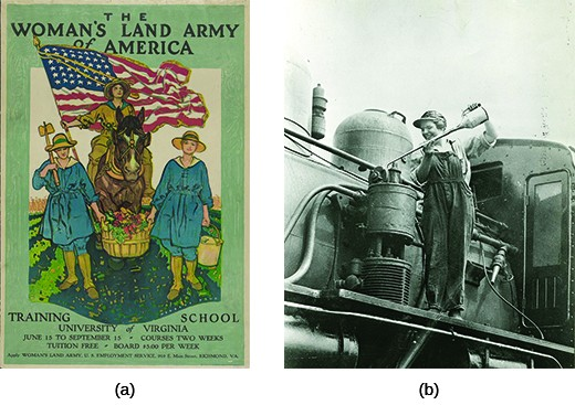 """Poster (a) depicts three women dressed for farm work. The middle woman is mounted on horseback, carrying a large American flag, with a farm visible around her. Beside her walk two women carrying a large basket of produce between them. The text reads """"The Women's Land Army of America. Training School. University of Virginia. June 15 to September 15. Courses two weeks. Tuition free. Board $5.00 per week. Apply Woman's Land Army. U.S. Employment Service. 910 E. Main Street. Richmond, VA."""" Photograph (b) shows shows Eva Abbott, a female worker, oiling one of the Erie Railroad's locomotives."""