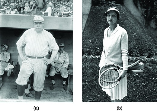 Photograph (a) shows Babe Ruth at Yankee Stadium. Photograph (b) shows Helen Wills posing with two tennis rackets.