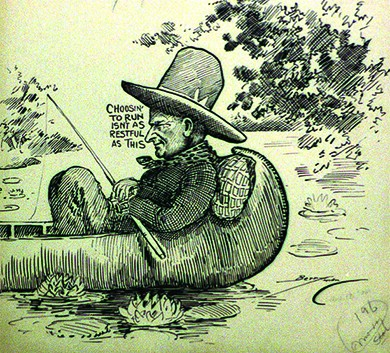 """A cartoon shows a man in a hat and neckerchief reclining against a pillow in a small boat, holding a fishing rod. Beside the man's face are the words """"Choosin' to run isn't as restful as this."""""""