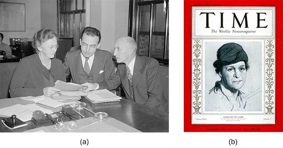Photograph (a) shows Molly Dewson sitting at a Social Security Board meeting with Chairman Arthur J. Altmeyer and George E. Bigge to her right. Image (b) shows the cover of Time magazine with an illustration of Frances Perkins.
