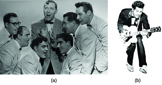 Photograph (a) shows seven young men singing in jackets and bow ties. Three men pose on each side of a central singer, who gestures with his hands as he performs. Photograph (b) shows Chuck Berry in a tuxedo playing the guitar.