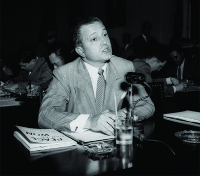 A photograph shows Edward Dmytryk testifying before the House Committee on Un-American Activities.