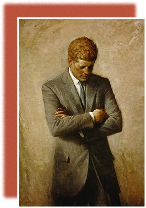 A painting of John F. Kennedy shows the president standing with his arms folded, staring downward.