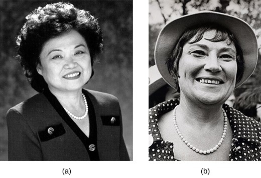 Photograph (a) shows Patsy Mink. Photograph (b) shows Bella Abzug.