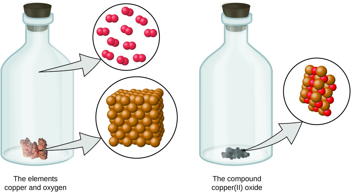 The left stoppered bottle contains copper and oxygen. There is a callout which shows that copper is made up of many sphere-shaped atoms. The atoms are densely organized. The open space of the bottle contains oxygen gas, which is made up of bonded pairs of oxygen atoms that are evenly spaced. The right stoppered bottle shows the compound copper two oxide, which is a black, powdery substance. A callout from the powder shows a molecule of copper two oxide, which contains copper atoms that are clustered together with an equal number of oxygen atoms.