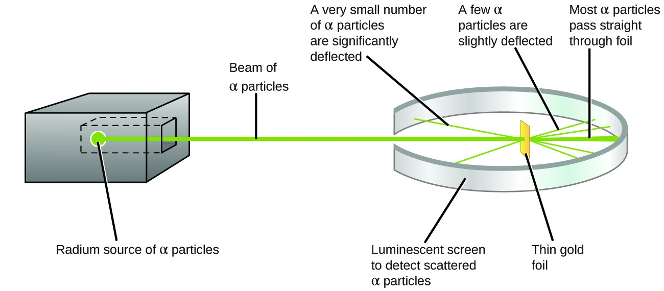 This figure shows a box on the left that contains a radium source of alpha particles which generates a beam of alpha particles. The beam travels through an opening within a ring-shaped luminescent screen which is used to detect scattered alpha particles. A piece of thin gold foil is at the center of the ring formed by the screen. When the beam encounters the gold foil, most of the alpha particles pass straight through it and hit the luminescent screen directly behind the foil. Some of the alpha particles are slightly deflected by the foil and hit the luminescent screen off to the side of the foil. Some alpha particles are significantly deflected and bounce back to hit the front of the screen.