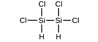 Figure C shows a structural diagram of two silicon atoms are bonded together with a single bond. Each of the silicon atoms form single bonds to two chlorine atoms each and one hydrogen atom.
