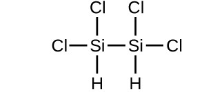 A structure is shown. An S i atom forms a single bond with a C l atom, a single bond with a C l atom, a single bond with an H atom, and a single bond with another S i atom. The second S i atom froms a single bond with a C l atom, a single bond with a C l atom, and a single bond with an H atom.