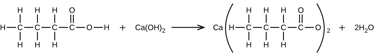 A chemical reaction is shown. To the left, a structural formula is provided for a molecule with a 4 C atom horizontal chain involving all single bonds between the C atoms. The three C atoms to the left have H atoms bonded above and below and the left most C atom also has an H atom bonded to its left side. The fourth C atom, which is toward the right end of the structure, has a double bonded O atom above and a single bonded O atom to its right. An H atom is bonded to the right of the single bonded O atom. This structure is followed by a plus sign, then the formula C a ( O H ) subscript 2. This is followed by a reaction arrow. To the right of this arrow is a structural formula that begins C a, and in parentheses has a 4 C atom horizontal chain involving all single bonds between the C atoms. The three C atoms to the left have H atoms bonded above and below, and the left most C atom also has an H atom bonded to its left side. The fourth C atom, which is toward the right end of the structure, has a double bonded O atom above and a single bonded O atom to its right. Outside the parentheses is a subscript 2. This structure is followed by a plus sign and 2 H subscript 2 O.