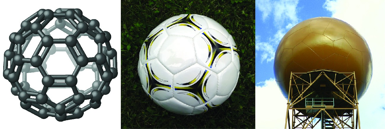 Three figures are shown. The left figure is a many-sides spherical ball composed of hexagonal rings which have carbon atoms at each corner. The center picture shows a soccer ball. The right picture shown as water tower with sides shaped like hexagonal rings.