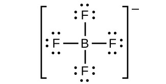A Lewis structure shows a boron atom single bonded to four fluorine atoms. Each fluorine atom has three lone pairs of electrons. The structure is surrounded by brackets with a superscripted negative sign.
