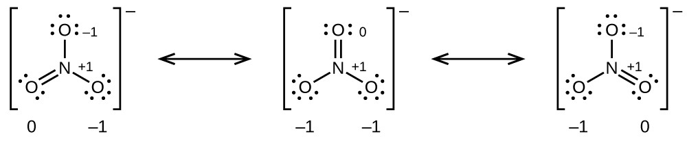 """[Three Lewis structures are shown, with brackets surrounding each with a superscripted negative sign and a double ended arrow in between. The left structure shows a nitrogen atom single bonded to two oxygen atoms, each with three lone pairs of electrons and double bonded to an oxygen atom with two lone pairs of electrons. The single bonded oxygen atoms are labeled, from the top of the structure and going clockwise, """"open parenthesis, negative 1, close parenthesis, open parenthesis, positive 1, close parenthesis"""". The symbols and numbers below this structure read """"open parenthesis, 0, close parenthesis, open parenthesis, negative 1, close parenthesis. The middle structure shows a nitrogen atom single bonded to two oxygen atoms, each with three lone pairs of electrons, one of which is labeled """"open parenthesis, positive 1, close parenthesis"""" and double bonded to an oxygen atom with two lone pairs of electrons labeled """"open parenthesis, 0, close parenthesis"""". The symbols and numbers below this structure read """"open parenthesis, negative 1, close parenthesis, open parenthesis, negative 1, close parenthesis. The right structure shows a nitrogen atom single bonded to two oxygen atoms, each with three lone pairs of electrons and double bonded to an oxygen atom with two lone pairs of electrons. One of the single bonded oxygen atoms is labeled, """"open parenthesis, negative 1, close parenthesis while the double bonded oxygen is labeled, """"open parenthesis, positive 1, close parenthesis"""". The symbols and numbers below this structure read """"open parenthesis, negative 1, close parenthesis"""" and """"open parenthesis, 0, close parenthesis"""".]"""