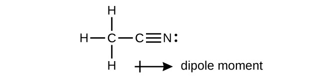 """A Lewis structure is shown in which a carbon atom is attached by single bonds to three hydrogen atoms. It is also attached by a single bond to a carbon atom that is triple bonded to a nitrogen atom with one lone electron pair. Below the structure is a right facing arrow with its head near the nitrogen and its tail, which looks like a plus sign, located near the carbon atoms. The arrow is labeled, """"dipole moment."""""""