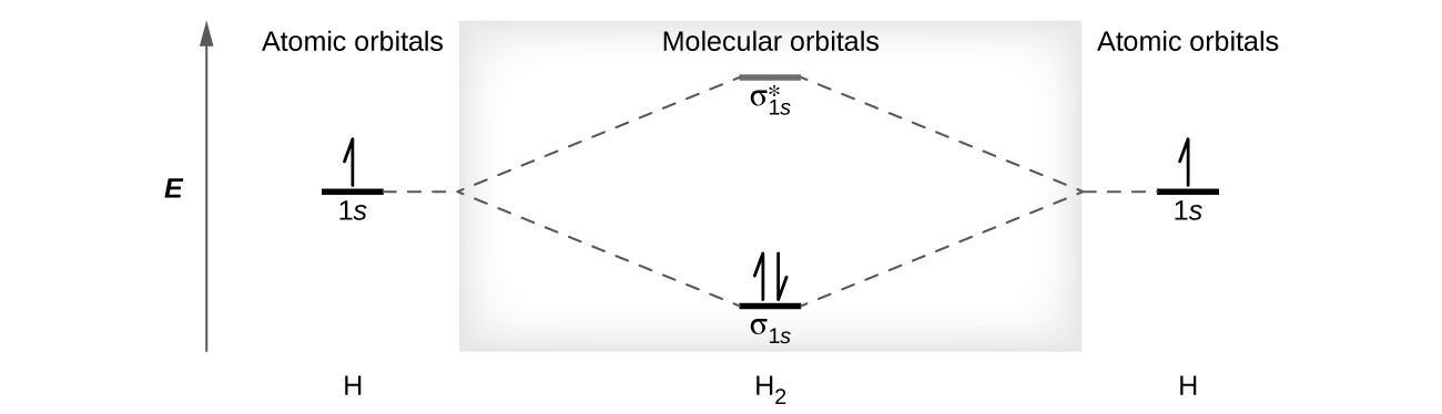"""A diagram is shown that has an upward-facing vertical arrow running along the left side labeled """"E."""" At the bottom center of the diagram is a horizontal line labeled, """"sigma subscript 1 s,"""" that has two vertical half arrows drawn on it, one facing up and one facing down. This line is connected to the right and left by upward-facing, dotted lines to two more horizontal lines, each labeled, """"1 s,"""" and each with one vertical half-arrow facing up drawn on it. These two lines are connected by upward-facing dotted lines to another line in the center of the diagram, but farther up from the first, and labeled, """"sigma subscript 1 s superscript asterisk."""" The left and right sides of the diagram have headers that read, """"Atomic orbitals,"""" while the center header reads, """"Molecular orbitals."""" The bottom left and right are labeled """"H"""" while the center is labeled """"H subscript 2."""""""