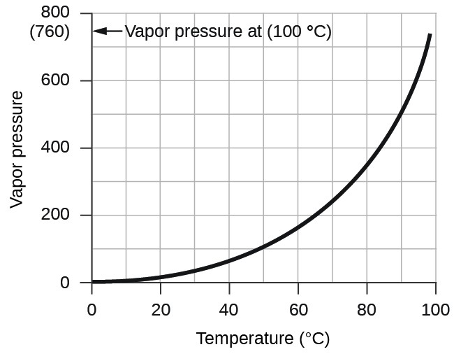 """alt=""""A graph is shown. The horizontal axis is labeled """"Temperature ( degrees C )"""" with markings and labels provided for multiples of 20 beginning at 0 and ending at 100. The vertical axis is labeled """"Vapor pressure ( torr )"""" with marking and labels provided for multiples of 200, beginning at 0 and ending at 800. A smooth solid black curve extends from the origin up and to the right across the graph. The graph shows a positive trend with an increasing rate of change. On the vertical axis is ( 7 60) and an arrow pointing to it. The arrow is labeled, """"Vapor pressure at ( 100 degrees C )."""""""""""