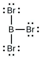This Lewis structure is composed of a boron atom single bonded to three bromine atoms, each of which has three lone pairs of electrons.