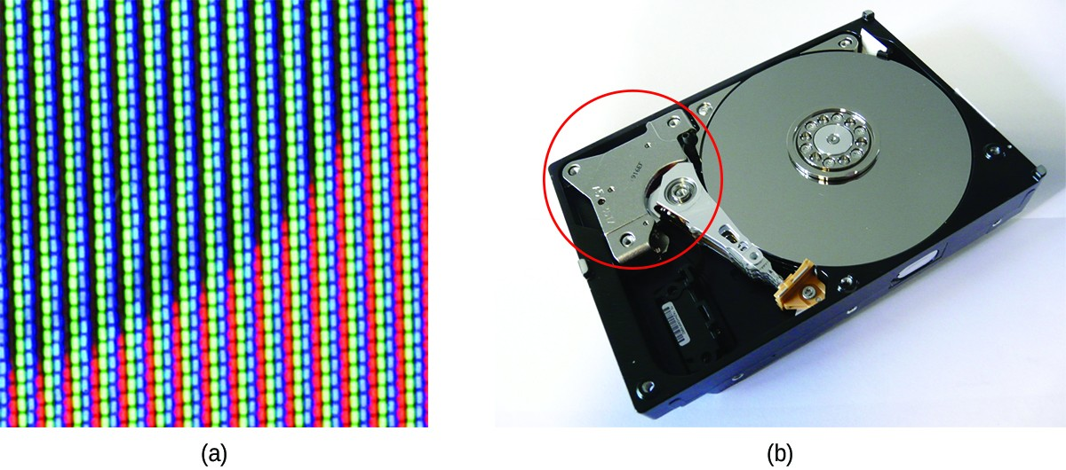 This figure contains two images. Figurea shows a background with approximately half of the background to the upper right covered by a dark blue quarter circle. The remainder of the background is red. On top of this surface are 15 vertical columns of light blue dots, which are evenly spaced with gaps between them approximately equal to the width of the columns. In figure b, a computer hard drive is shown. It consists of a thin black plastic rectangular frame on which a thin disk with a metallic appearance is placed. A curved grey shape lies outside of this disk in the rectangular frame and is circled in red. This curved shape has a thin, pointed extension that reaches to the surface of the metallic disk.