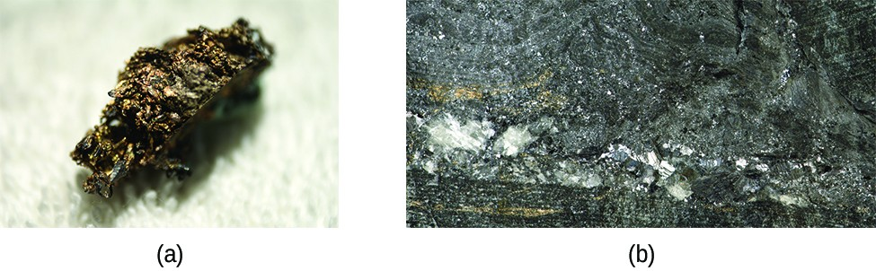 This figure contains two images. The first is of a small clump of bronze-colored metal with a very rough, irregular surface. The second shows a layer-like region of silver metal embedded in rock.