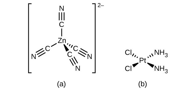 Two structures are shown. In a, inside of brackets, a central Z n atom is bonded to 4 C atoms in a tetrahedral spatial arrangement. Short line segments are used to represent a bond extending above and down and to the left of the Z n atom. A dashed wedge with the vertex at the Z n atom and wide end at the C atom is used to represent a bond down and to the right of the Z n atom. The final bond is indicated by a similar solid wedge again directed down and only slightly right of the center beneath the Z n atom. Four groups of three parallel short line segments are shown indicating triple bonds extending from each C atom opposite the bond with Z n to an associated N atom. Outside the brackets a superscript of 2 negative is shown. In b, at the center of this structure is a P t atom. From this atom, a single bond represented by a dashed wedge extends from a vertex at the P t atom up and to the right to the N atom of an N H subscript 3 group. Similarly, a single bond represented by a solid wedge extends from a vertex at the P t atom down and to the right to the N atom of an N H subscript 3 group. Another single bond represented by a dashed wedge extends from a vertex at the P t atom up and to the left to a C l atom. Similarly, a single bond represented by a solid wedge extends from a vertex at the P t atom down and to the left to a C l atom.
