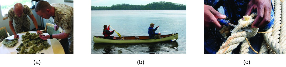Three photos are shown. In the first, two male soldiers are shown sorting through green brown material on a table. In the second, two people are shown paddling a canoe. In the third, heavy white rope is being manipulated with a hand tool.