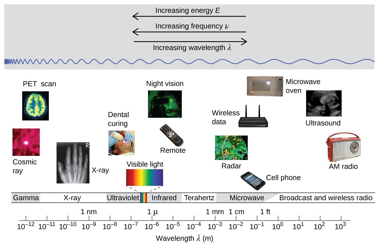 "The figure includes a portion of the electromagnetic spectrum which extends from gamma radiation at the far left through x-ray, ultraviolet, visible, infrared, terahertz, and microwave to broadcast and wireless radio at the far right. At the top of the figure, inside a grey box, are three arrows. The first points left and is labeled, ""Increasing energy E."" A second arrow is placed just below the first which also points left and is labeled, ""Increasing frequency nu."" A third arrow is placed just below which points right and is labeled, ""Increasing wavelength lambda."" Inside the grey box near the bottom is a blue sinusoidal wave pattern that moves horizontally through the box. At the far left end, the waves are short and tightly packed. They gradually lengthen moving left to right across the figure, resulting in significantly longer waves at the right end of the diagram. Beneath the grey box are a variety of photos aligned above the names of the radiation types and a numerical scale that is labeled, ""Wavelength lambda ( m )."" This scale runs from 10 superscript negative 12 meters under gamma radiation increasing by powers of ten to a value of 10 superscript 3 meters at the far right under broadcast and wireless radio. X-ray appears around 10 superscript negative 10 meters, ultraviolet appears in the 10 superscript negative 8 to 10 superscript negative 7 range, visible light appears between 10 superscript negative 7 and 10 superscript negative 6, infrared appears in the 10 superscript negative 6 to 10 superscript negative 5 range, teraherz appears in the 10 superscript negative 4 to 10 superscript negative 3 range, microwave infrared appears in the 10 superscript negative 2 to 10 superscript negative 1 range, and broadcast and wireless radio extend from 10 to 10 superscript 3 meters. Labels above the scale are placed to indicate 1 n m at 10 superscript negative 9 meters, 1 micron at 10 superscript negative 6 meters, 1 millimeter at 10 superscript negative 3 meters, 1 centimeter at 10 superscript negative 2 meters, and 1 foot between 10 superscript negative 1 meter and 10 superscript 0 meters. A variety of images are placed beneath the grey box and above the scale in the figure to provide examples of related applications that use the electromagnetic radiation in the range of the scale beneath each image. The photos on the left above gamma radiation show cosmic rays and a multicolor PET scan image of a brain. A black and white x-ray image of a hand appears above x-rays. An image of a patient undergoing dental work, with a blue light being directed into the patient's mouth is labeled, ""dental curing,"" and is shown above ultraviolet radiation. Between the ultraviolet and infrared labels is a narrow band of red, orange, yellow, green, blue, indigo, and violet colors in narrow, vertical strips. From this narrow band, two dashed lines extend a short distance above to the left and right of an image of the visible spectrum. The image, which is labeled, ""visible light,"" is just a broader version of the narrow bands of color in the label area. Above infrared are images of a television remote and a black and green night vision image. At the left end of the microwave region, a satellite radar image is shown. Just right of this and still above the microwave region are images of a cell phone, a wireless router that is labeled, ""wireless data,"" and a microwave oven. Above broadcast and wireless radio are two images. The left most image is a black and white medical ultrasound image. A wireless AM radio is positioned at the far right in the image, also above broadcast and wireless radio."