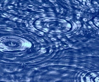 A photograph is shown of ripples in water. The ripples display an interference pattern with each other.
