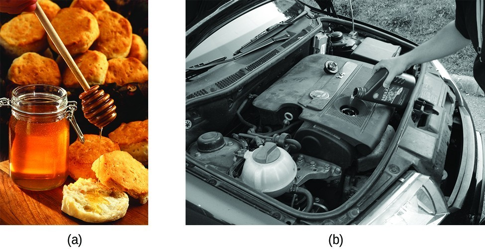 a) is a photo of honey being put on a biscuit. b) is a black and white photo of a person adding motor oil to a car engine.