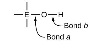 """A diagram is shown that includes a central atom designated with the letter E. Single bonds extend above, below, left, and right of the E. An O atom is bonded to the right of the E, and an arrow points to the bond labeling it, """"Bond a."""" An H atom is single bonded to the right of the O atom. An arrow pointing to this bond connects it to the label, """"Bond b."""""""