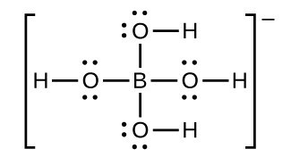 An H atom is bonded to an O atom. The O atom has 2 dots above it and 2 dots below it. The O atom is bonded to a B atom, which has three additional O atoms bonded to it as well. Each of these additional O atoms has 4 dots arranged around it, and is bonded to an H atom. This entire molecule is contained in brackets, to the right of which is a superscripted negative sign.