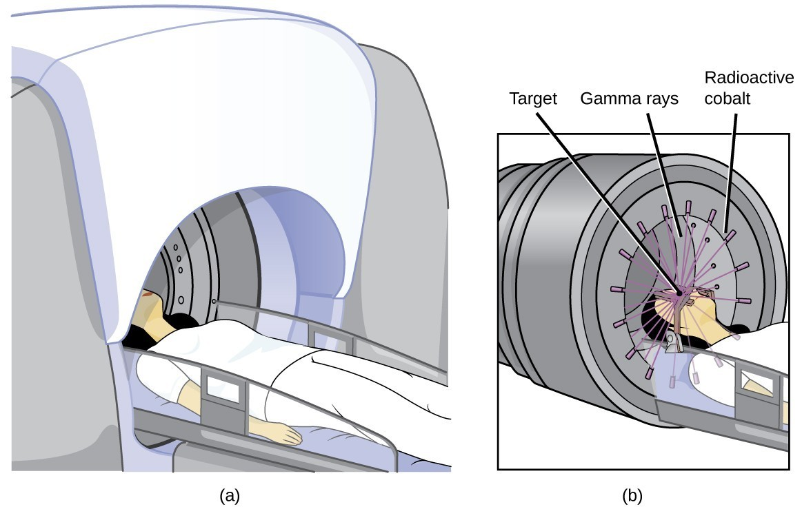 "Two diagrams are shown and labeled ""a"" and ""b."" Diagram a shows a woman lying on a horizontal table with is being inserted into a dome-shaped machine. Diagram b shows a closer view of the woman's head and upper torso in the machine. A series of beams, labeled ""Gamma rays,"" are shown to exit from slits in the edges of the machine, labeled ""Radioactive cobalt,"" and to penetrate her head, which is labeled ""Target."""