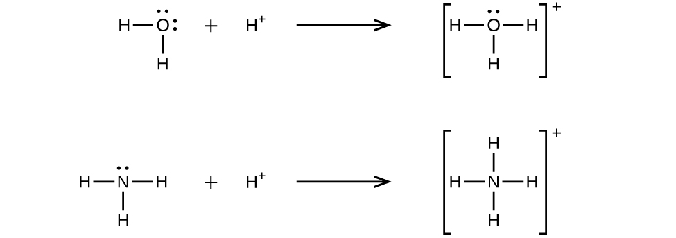 this figure shows two reactions represented with lewis structures  the  first shows an o atom