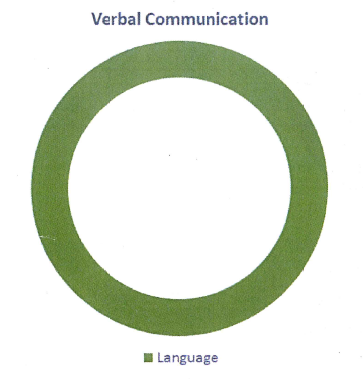 A chart labeled Verbal Communication. It depicts a full circle in green, with green labeled as Language.