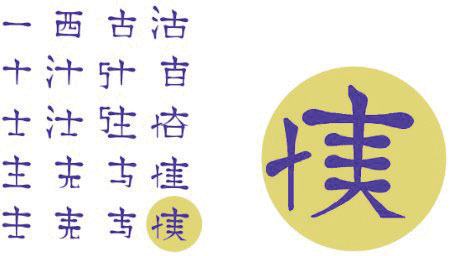 Examples of Chinese lettering.