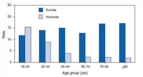Bar graphs comparing natural death and homicide for different age groups.