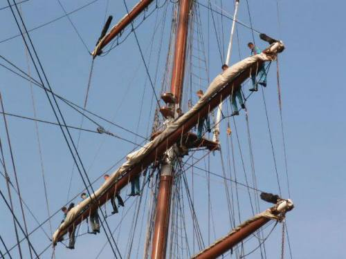 Photo of a ships rigging.