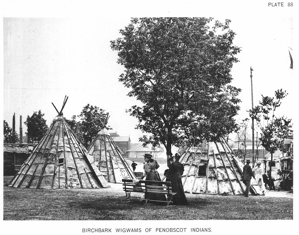 Black and white photo of several birchbark wigwams of the Penobscot.