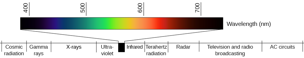 "Wavelengths from low to high as measured in nanometers. Below the visible spectrum, in increasing order, are ""Cosmic radiation,"" ""Gamma rays,"" ""X-rays,"" and ""Ultraviolet,"". The visible wavelengths of light are between 400 and 700 nanometers. Wavelengths above the visible spectrum, in increasing order, are ""Infrared,"" ""Terahertz radiation,"" ""Radar,"" ""Television and radio broadcasting,"" and ""AC circuits."""