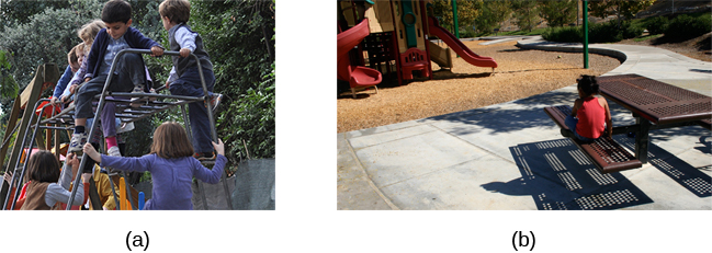 Photograph A shows several children climbing on playground equipment. Photograph B shows a child in time-out, sitting alone at a table looking at the playground.