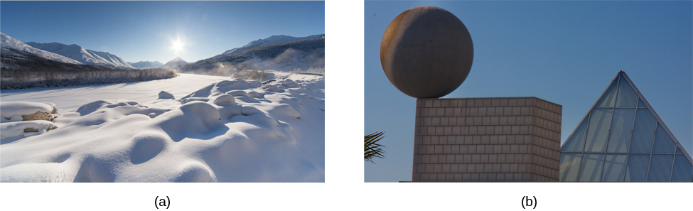 Photograph A shows a snow covered landscape with the sun shining over it. Photograph B shows a sphere shaped object perched atop the corner of a cube shaped object. There is also a triangular object shown.