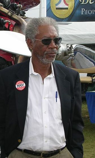 A photograph shows Morgan Freeman.