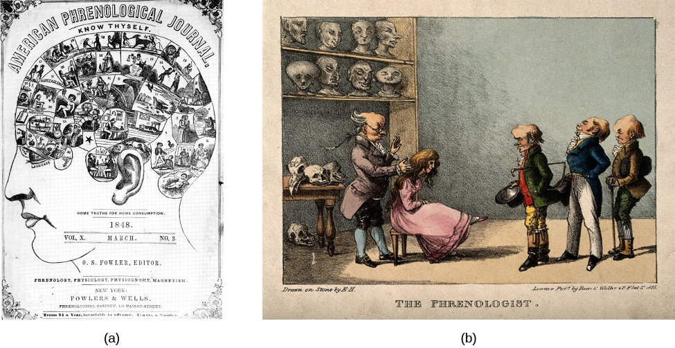 "Photograph A shows the cover of the American Phrenological Journal circa 1848. Across the top it reads: ""American Phrenological Journal."" Below that it says ""Know thyself."" Below that is a picture of a human head facing left, with many pictures comprising the area where the brain is. Below the person's ear it says ""Home truths for home consumption."" The lines below that read: ""1848,"" ""Vol. X, March, No. 3,"" ""O.S. Fowler, Editor,"" ""Phrenology, Physiology, Physiognomy, Magnetism,"" ""New York,"" ""Fowlers and Wells,"" ""Phrenological cabinet, 131 Nassau-Street,"" and ""Terms $1 a year, invariably in advance. Ten cts. a Number."" Photograph B shows a printed cartoon of a person in a chair with another person behind. There are three other people in the room, and the wall is decorated with various skulls. Below the picture it reads: ""Drawn on Stone by E.H,"" and ""The Phrenologist."""