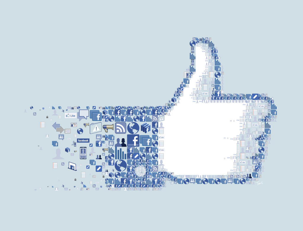 """Mosaic illustration of the Facebook """"LIKE"""" button. Shows the iconic """"thumbs-up"""" graphic."""