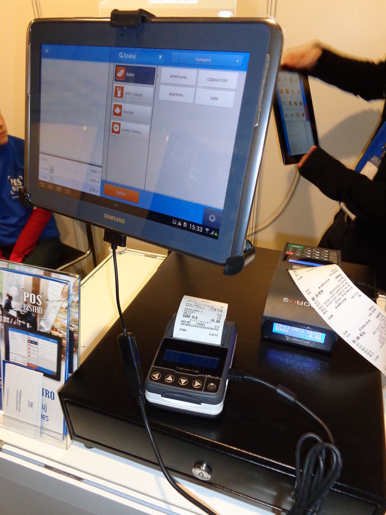 Photo of point-of-sale system for a restaurant. Display monitor shown on counter.